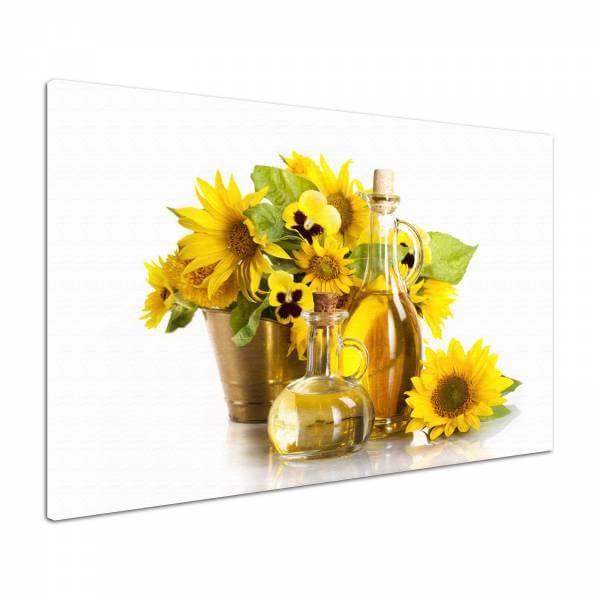 Leinwandbild Bild Wandbild Sommer-Bouquet Blumen in gelb