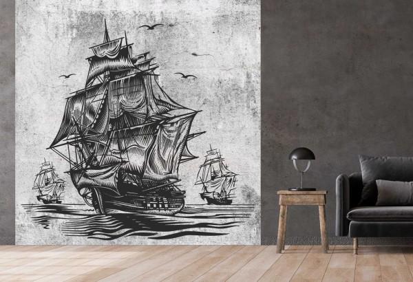 Vlies Tapete Betonoptik Poster Fototapete Tribal Segelschiff Schiff
