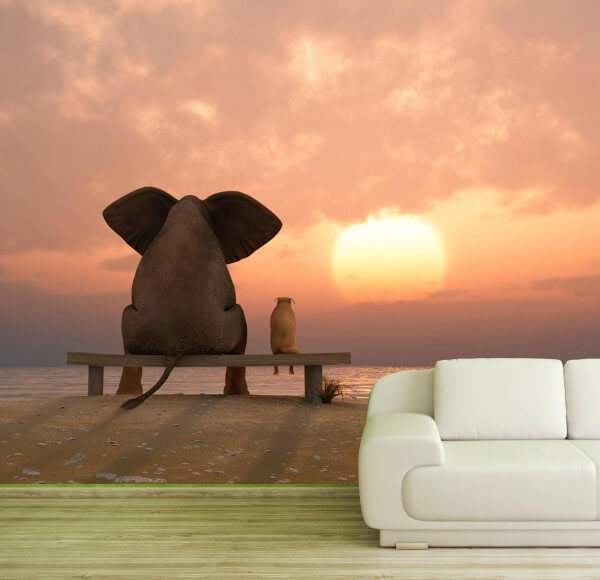 Vlies Tapete Fototapete Elefant Hund Freundschaft am Strand