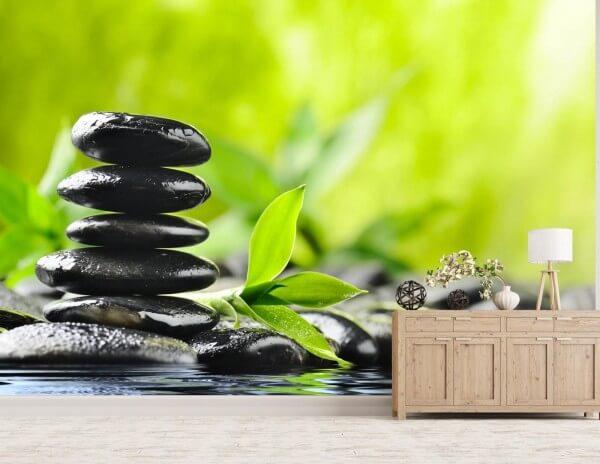Vlies Tapete XXL Poster Fototapete Bambus Steine Wasser Zen