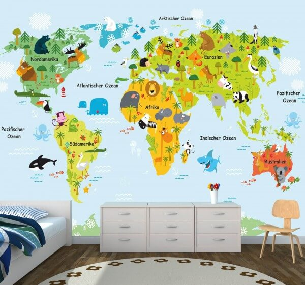Kinderzimmer Tapete Vlies XXL-Poster Fototapete Weltkarte Landkarte