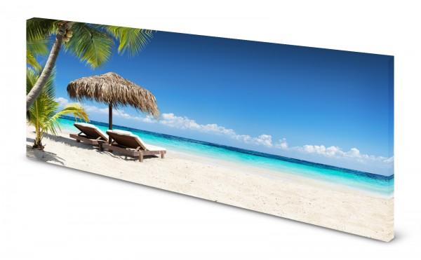 Magnettafel Pinnwand Bild Insel Karibik Strand Sonnenschirm Liege gekantet