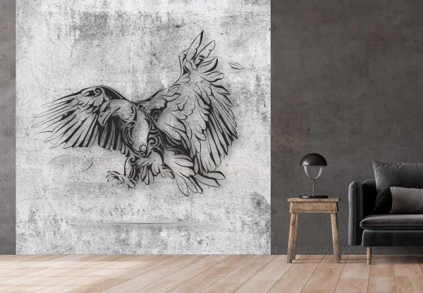 Vlies Tapete Betonoptik Poster Fototapete Tribal Adler