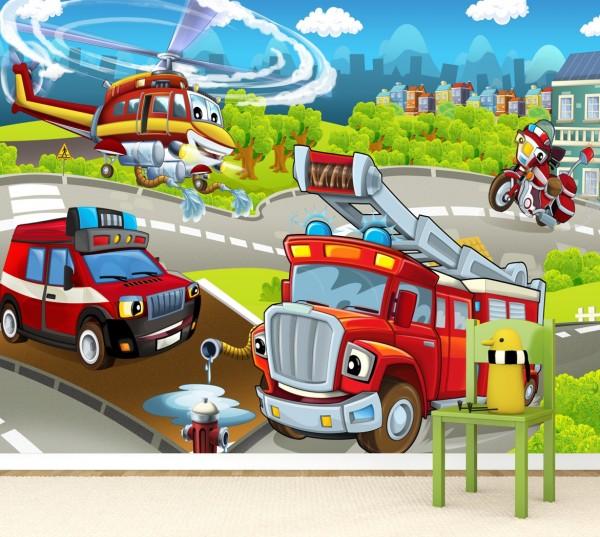 Vlies Tapete Poster Fototapete Kinderzimmer Feuerwehr Auto