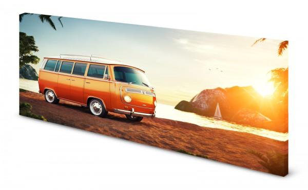 Magnettafel Pinnwand Bild Bus Bulli orange Strand Meer gekantet