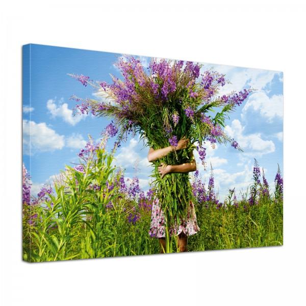 Leinwand Bild edel Natur Ein Strauß voller Freude in lila