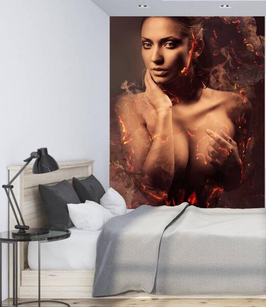 Vlies Tapete XXL Poster Fototapete Erotik Lady Fire