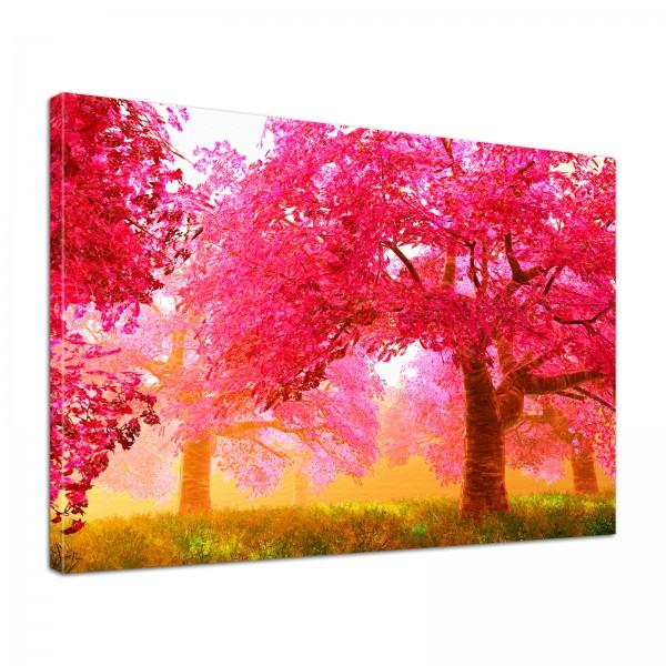 Leinwand Bild edel Natur Bäume in pink surreal