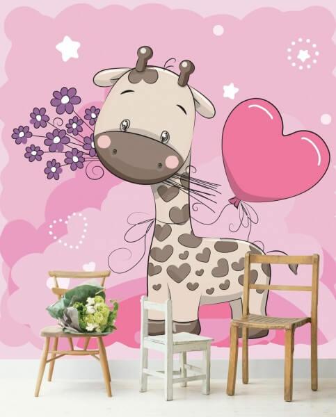 Vlies Tapete Poster Fototapete Kinderzimmer Giraffe rosa lila