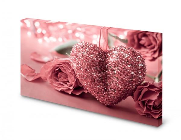 Magnettafel Pinnwand Bild Herz Rose Glitzer rosa XXL gekantet