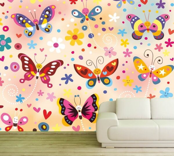 Vlies XXL-Poster Fototapete Tapete Kinder Schmetterlinge bunt 1 ...