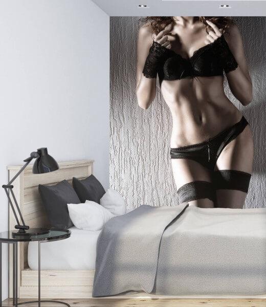 Vlies Tapete Fototapete Erotik Dessous schwarze Strümpfe
