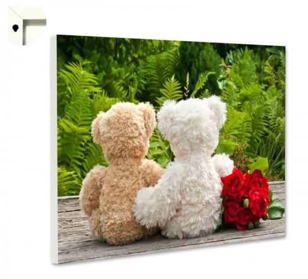Magnettafel Pinnwand mit Motiv Teddy, Liebe und rote Rosen