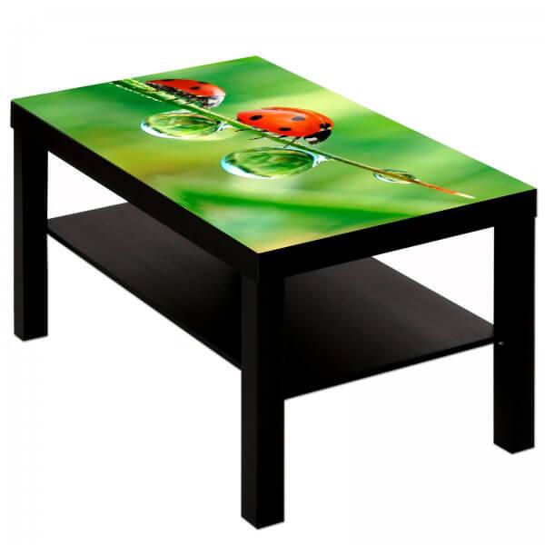 Couchtisch Tisch mit Motiv Tiere Marienkäfer Mutter & Kind
