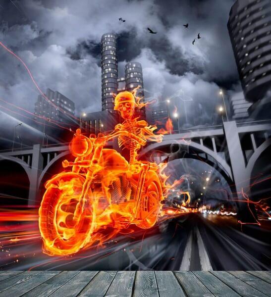 Vlies XXL Poster Fototapete Tapete Flammen brennendes Skelett mit Motorrad in der Nacht