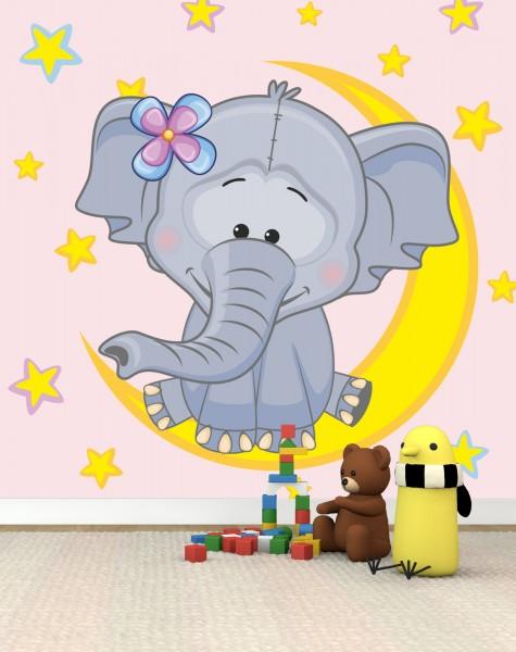 Vlies Tapete Poster Fototapete Kinderzimmer Elefant rosa Sterne