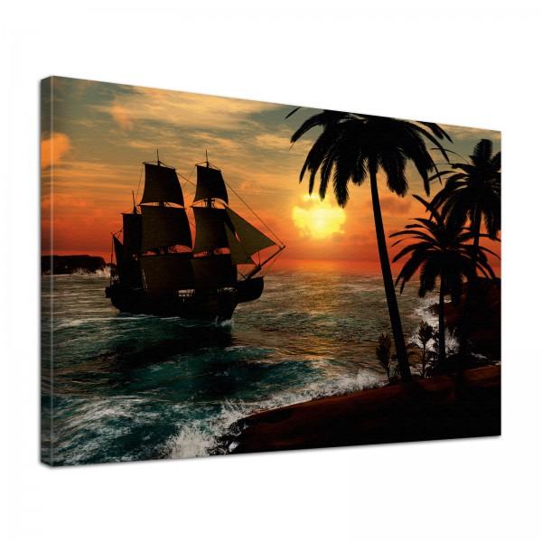Leinwand Bild edel Natur Piratenschiff