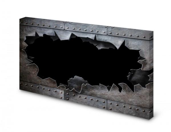 Magnettafel Pinnwand Bild Stahloptik Metall Nieten gekantet