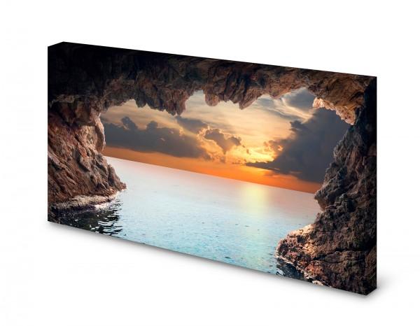 Magnettafel Pinnwand Bild Natur Meer Sonne Grotte Horizont gekantet