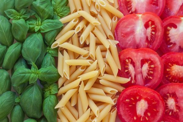 Magnettafel Pinnwand XXL Bild Tricolore Italien Pasta Tomaten Basilikum