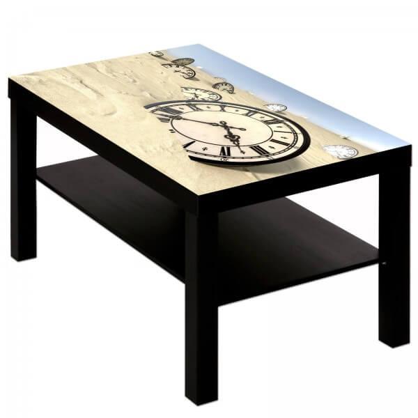 Couchtisch Tisch mit Motiv Bild Retro Antik Uhr im Sand
