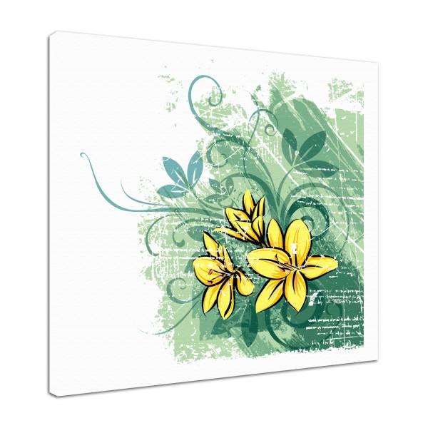 Leinwandbild Bild Wandbild Natur & Blumen Zeichnung modern in gelb und grün
