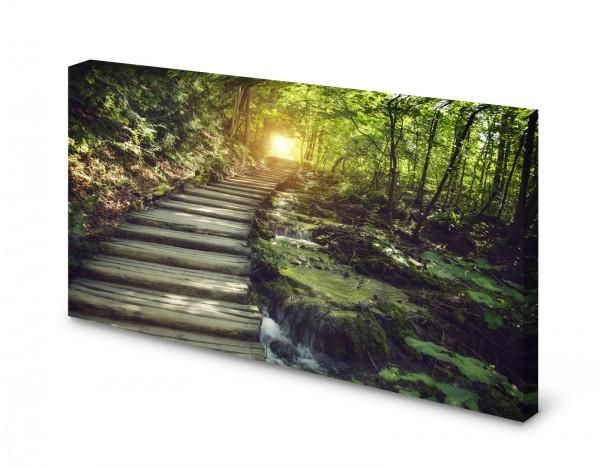 Magnettafel Pinnwand Bild Natur Wald Lichtung Sonne Treppe gekantet