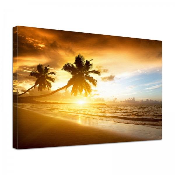 Leinwand Bild edel Natur Palmen im Sonnenuntergang am Strand