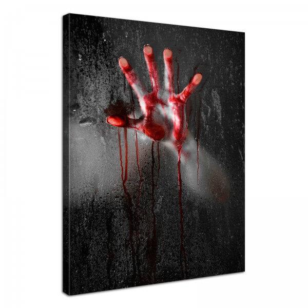 Leinwand Bild edel Gothic Horror bloody hand