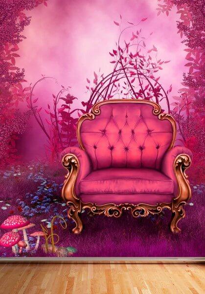 Vlies Tapete Poster Fototapete Fantasy Märchen Sessel pink