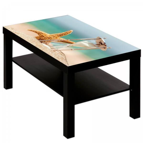 Couchtisch Tisch mit Motiv Bild Natur Seestern Sanduhr Meer Strand