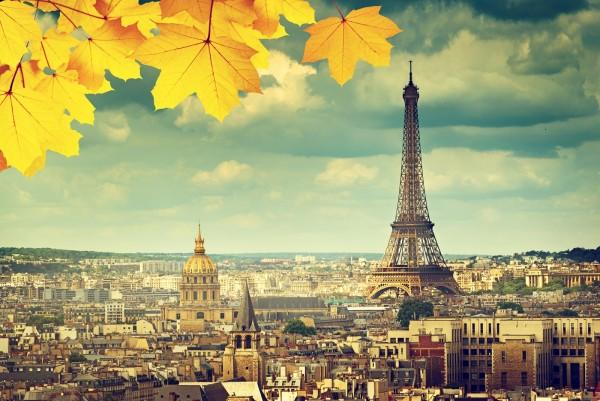 Magnettafel Pinnwand Bild Paris Eiffelturm Notre Dame Herbst