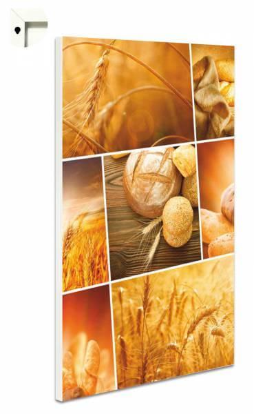 Magnettafel Pinnwand mit Motiv Küche Brot & Weizen in goldgelb