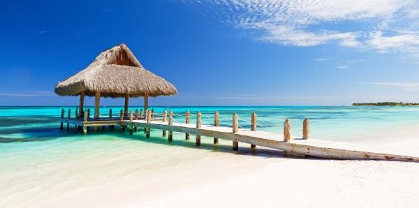 Magnettafel Pinnwand Bild XXL Panorama Karibik Pavillon Strand