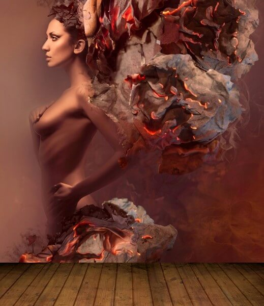 Vlies XXL Poster Fototapete Tapete Flammen Burn Erotik Fire Lady