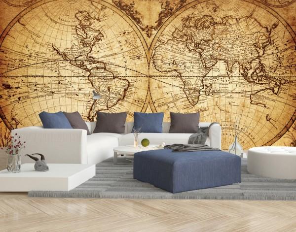 Vlies Tapete XXL Poster Fototapete Antik Weltkarte Globus Seefahrer