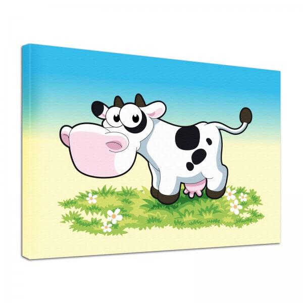 Leinwand Bild edel Tiere Comic-Kuh