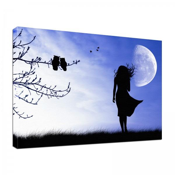 Leinwand Bild edel Gothic Fantasy Shadow Girl lila