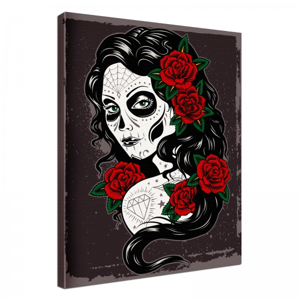 Leinwand Bild edel Gothic black Ghost Girl