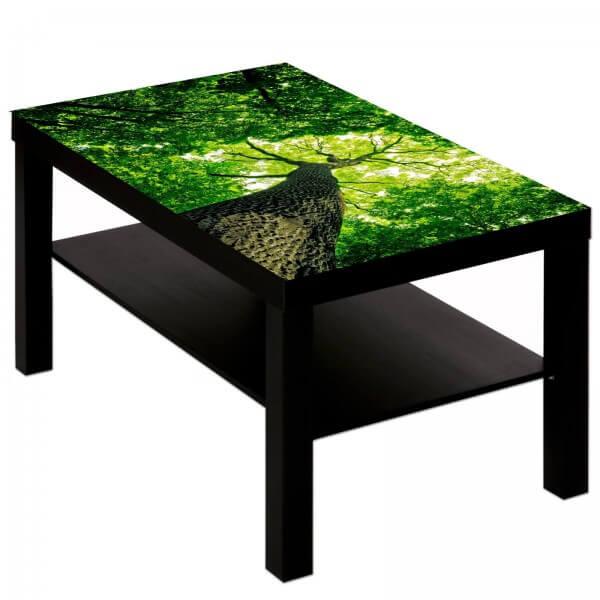 Couchtisch Tisch mit Motiv Bild Wald Blick nach oben Baumspitzen Wipfel