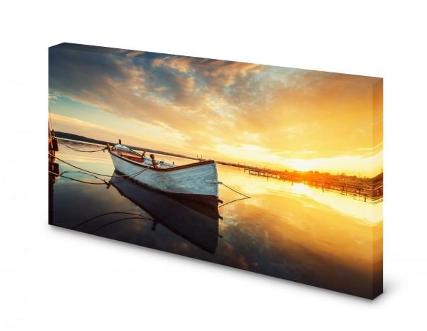 Magnettafel Pinnwand Bild Boot See Ruderboot Sonnenuntergang gekantet