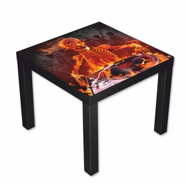 Beistelltisch Couchtisch mit Motiv DJ Skelett in Flammen