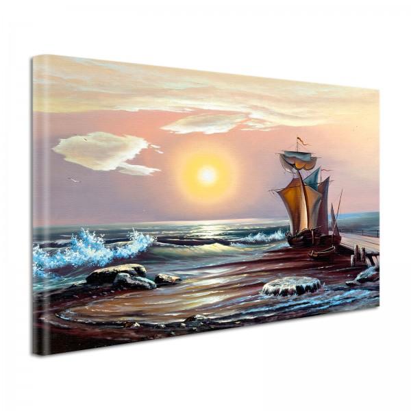 Leinwandbild Gemälde Segelschiff