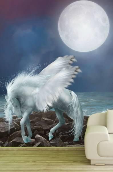 Vlies Tapete Fototapete Kinderzimmer Pegasus Vollmond