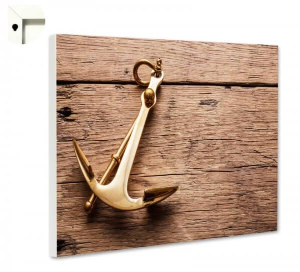 Magnettafel Pinnwand Holz Anker gold