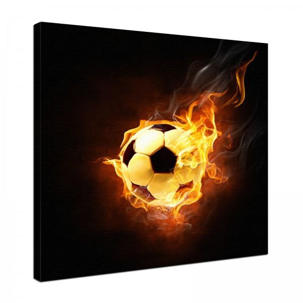Leinwandbild Feuer Burn Fußball