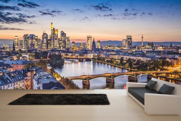 Vlies Tapete XXL Poster Fototapete Frankfurt Main Skyline Europaturm