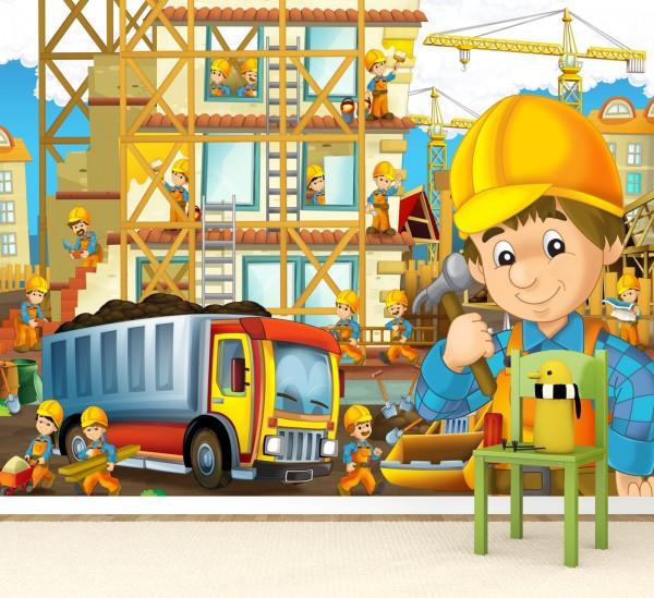 Vlies Tapete Poster Fototapete Kinderzimmer Baustelle Bauarbeiter