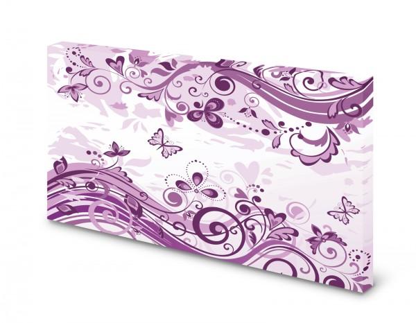 Magnettafel Pinnwand Bild Blumen Schmetterlinge lila gekantet