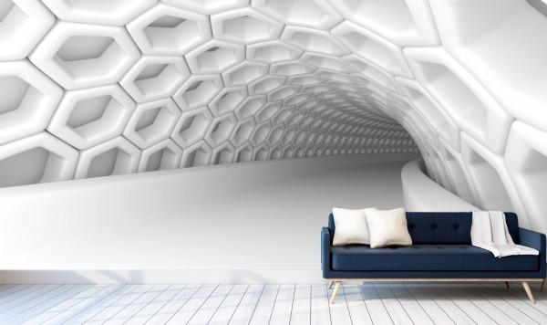 Vlies Tapete Poster XXL Fototapete 3D Tunnel Abstrakt weiss Röhre